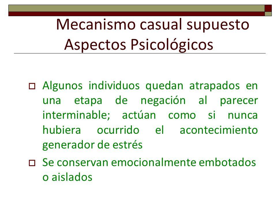Mecanismo casual supuesto Aspectos Psicológicos Algunos individuos quedan atrapados en una etapa de negación al parecer interminable; actúan como si n