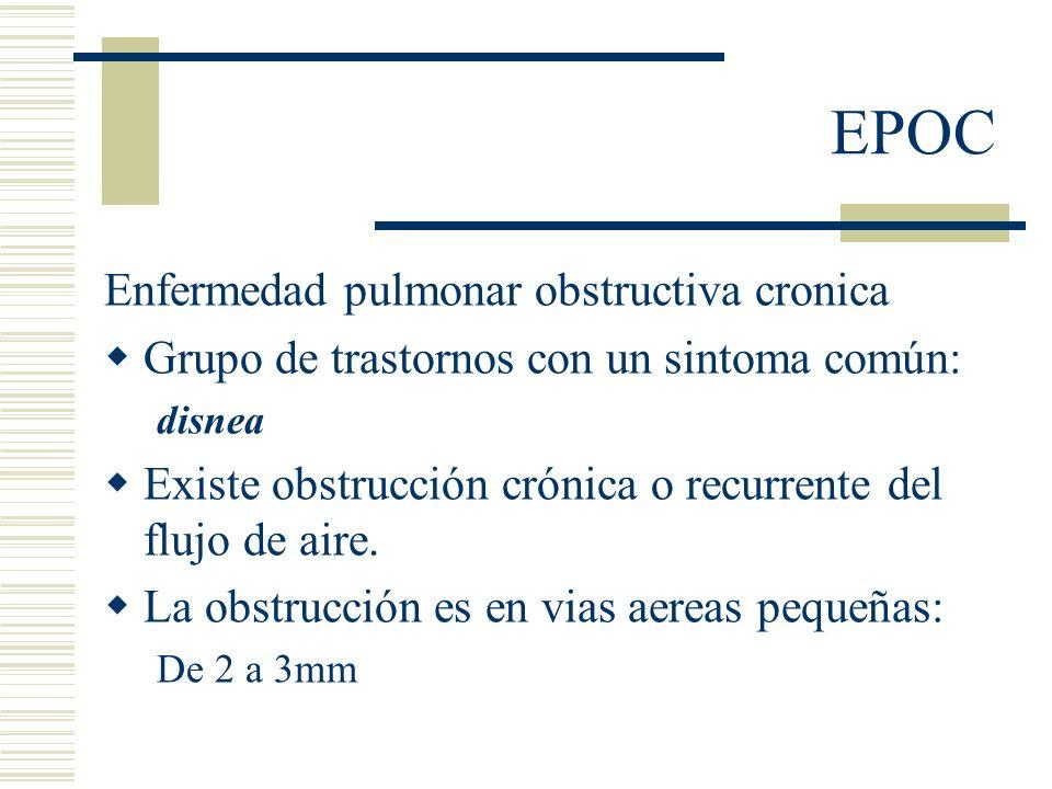 EPOC Enfermedad pulmonar obstructiva cronica Grupo de trastornos con un sintoma común: disnea Existe obstrucción crónica o recurrente del flujo de aire.