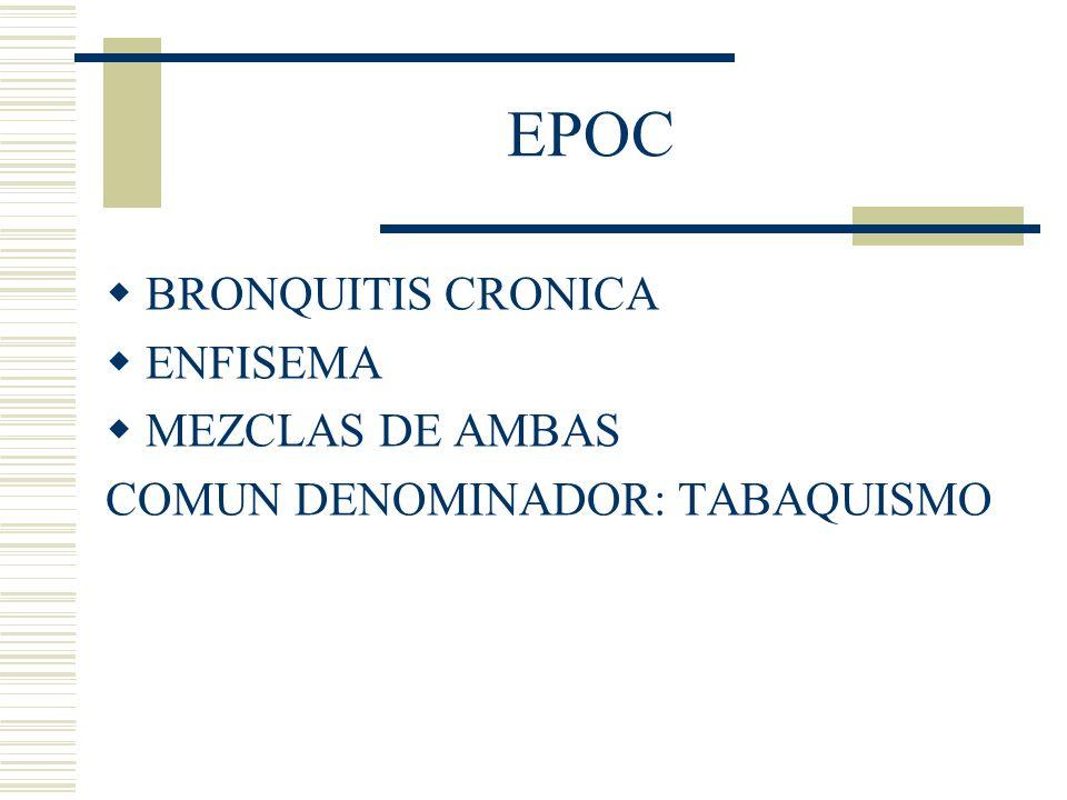 EPOC BRONQUITIS CRONICA ENFISEMA MEZCLAS DE AMBAS COMUN DENOMINADOR: TABAQUISMO
