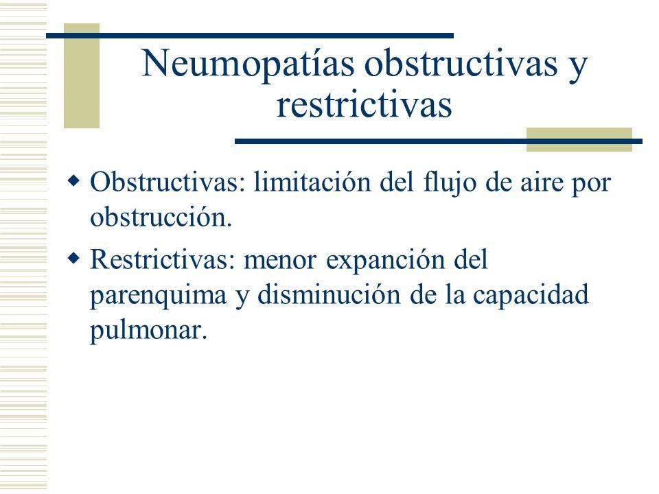 Neumopatías obstructivas y restrictivas Obstructivas: limitación del flujo de aire por obstrucción.