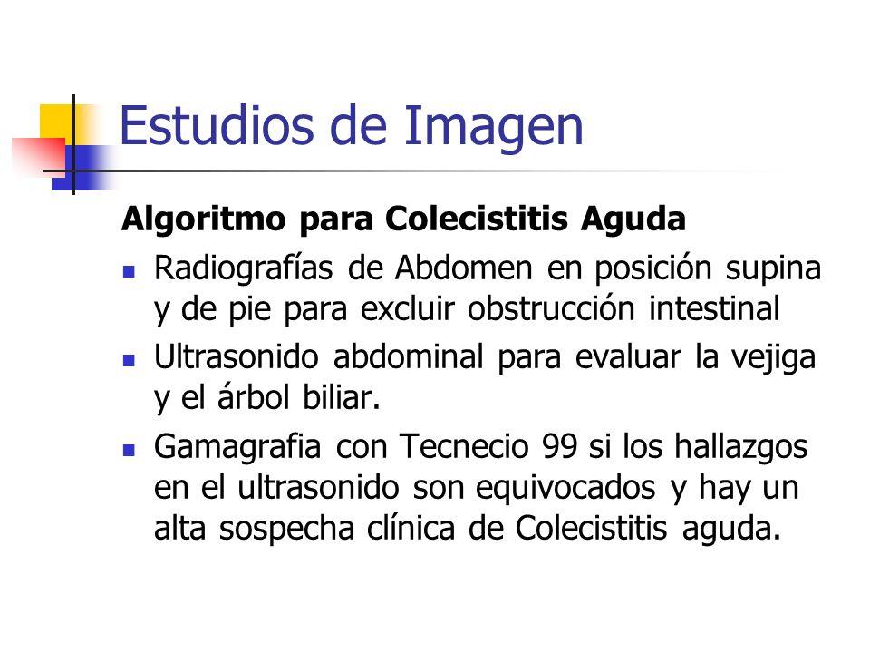 Estudios de Imagen Algoritmo para Colecistitis Aguda Radiografías de Abdomen en posición supina y de pie para excluir obstrucción intestinal Ultrasoni