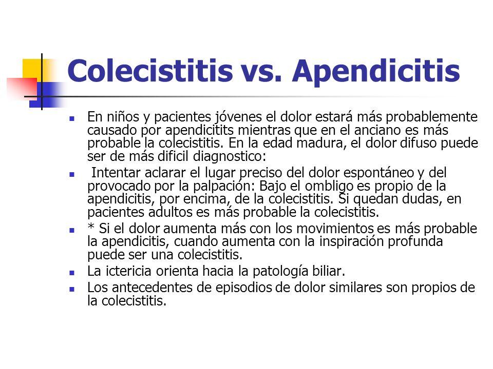 Colecistitis vs. Apendicitis En niños y pacientes jóvenes el dolor estará más probablemente causado por apendicitits mientras que en el anciano es más