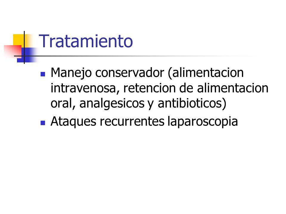 Tratamiento Manejo conservador (alimentacion intravenosa, retencion de alimentacion oral, analgesicos y antibioticos) Ataques recurrentes laparoscopia
