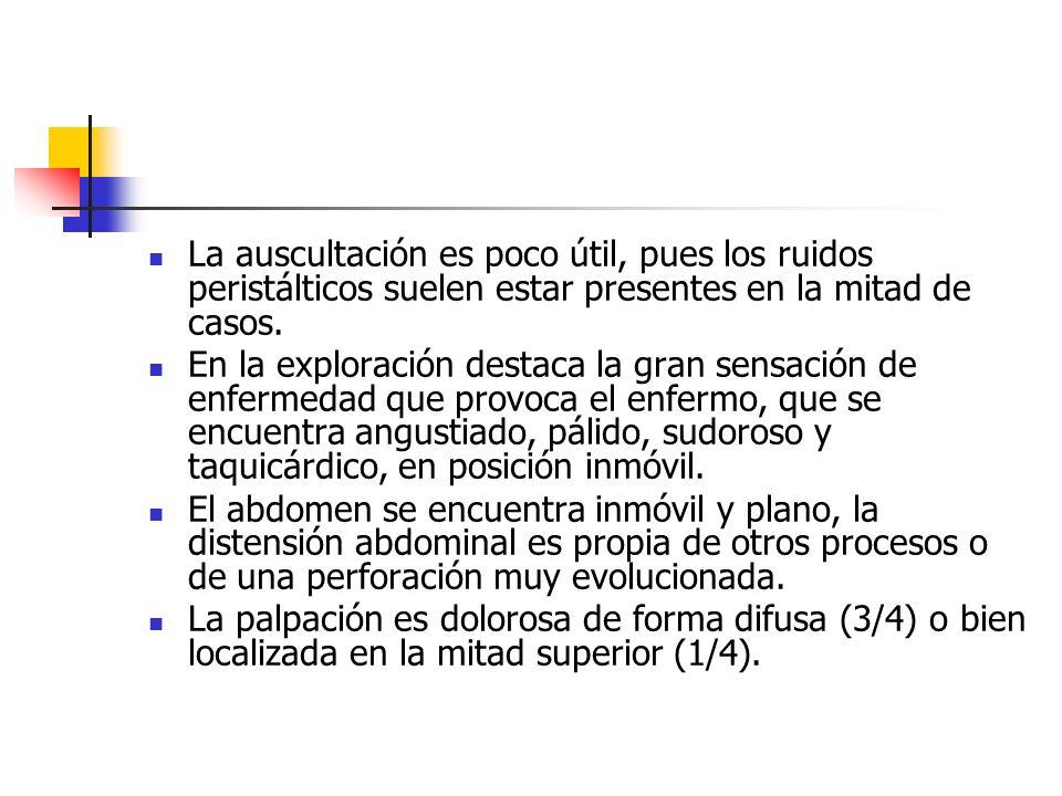 La auscultación es poco útil, pues los ruidos peristálticos suelen estar presentes en la mitad de casos. En la exploración destaca la gran sensación d