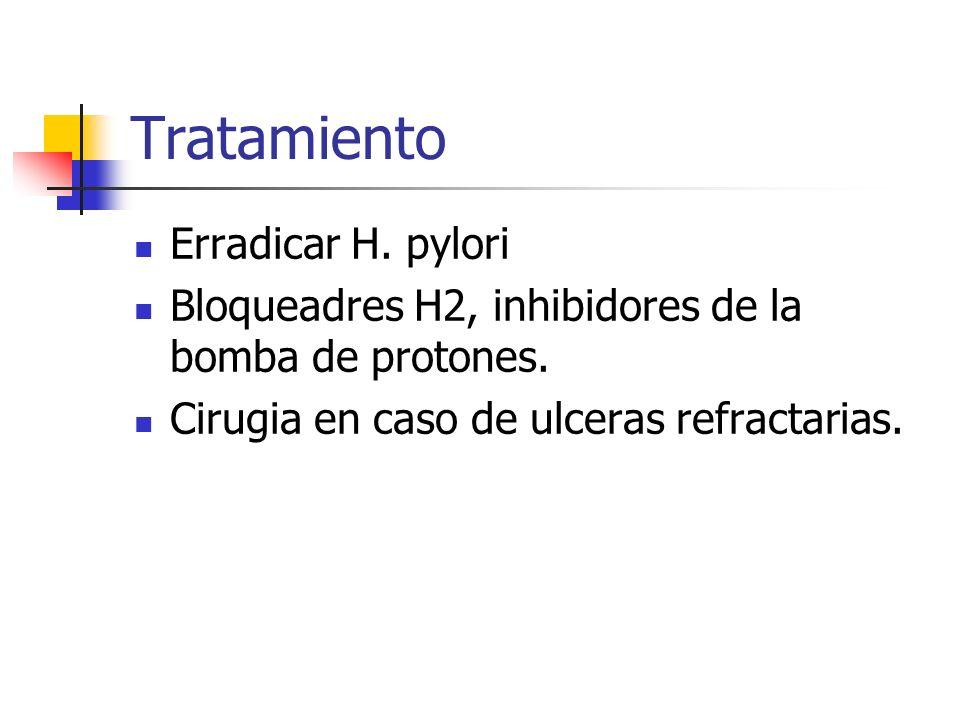 Tratamiento Erradicar H. pylori Bloqueadres H2, inhibidores de la bomba de protones. Cirugia en caso de ulceras refractarias.