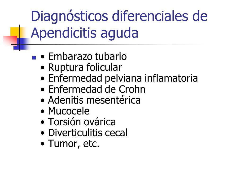 Diagnósticos diferenciales de Apendicitis aguda Embarazo tubario Ruptura folicular Enfermedad pelviana inflamatoria Enfermedad de Crohn Adenitis mesen