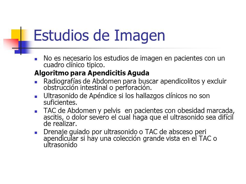 Estudios de Imagen No es necesario los estudios de imagen en pacientes con un cuadro clínico tipico. Algoritmo para Apendicitis Aguda Radiografías de