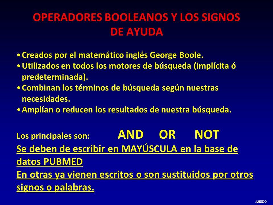 AHEDO OPERADORES BOOLEANOS Y LOS SIGNOS DE AYUDA Creados por el matemático inglés George Boole. Utilizados en todos los motores de búsqueda (implícita