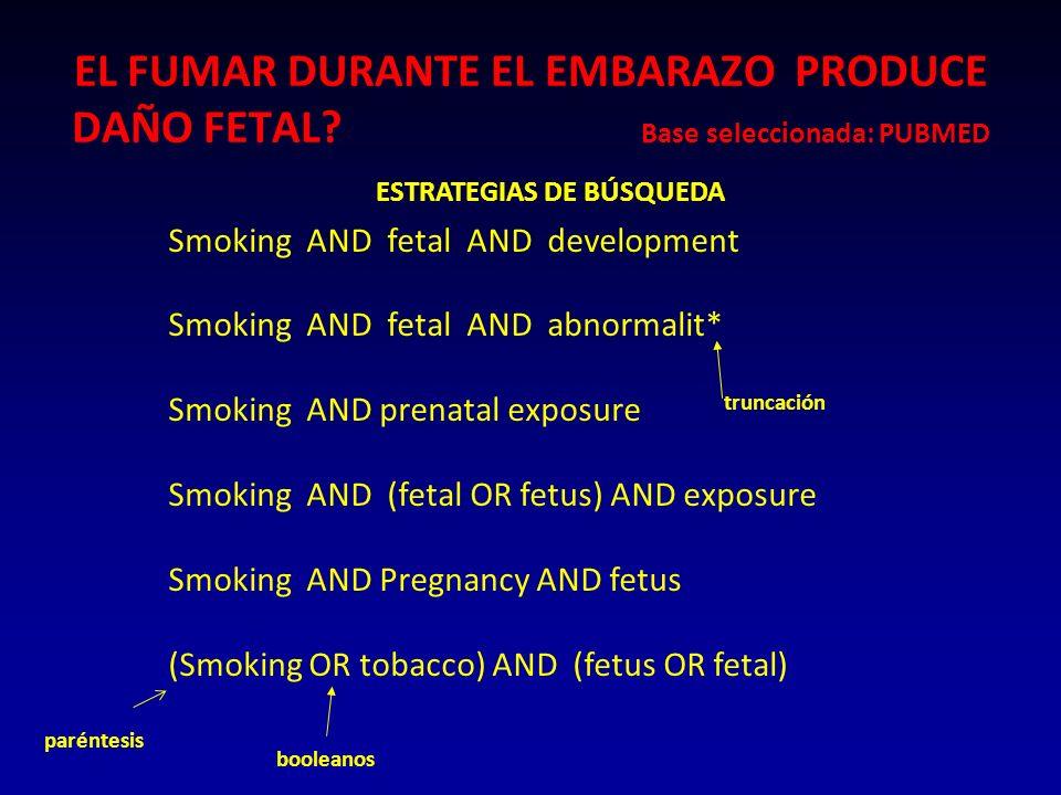 ESTRATEGIAS DE BÚSQUEDA Smoking AND fetal AND development Smoking AND fetal AND abnormalit* Smoking AND prenatal exposure Smoking AND (fetal OR fetus)