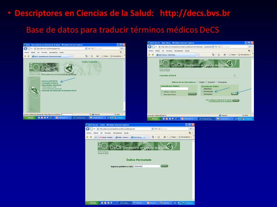 Descriptores en Ciencias de la Salud: http://decs.bvs.br Base de datos para traducir términos médicos DeCS