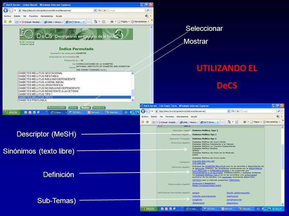 Seleccionar Mostrar Descriptor (MeSH) Sinónimos (texto libre) Definición Sub-Temas) UTILIZANDO EL DeCS