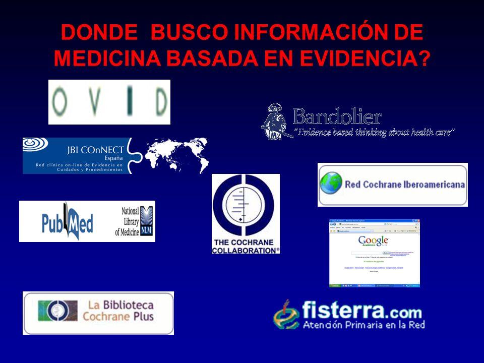 DONDE BUSCO INFORMACIÓN DE MEDICINA BASADA EN EVIDENCIA?