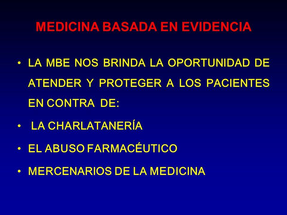 MEDICINA BASADA EN EVIDENCIA LA MBE NOS BRINDA LA OPORTUNIDAD DE ATENDER Y PROTEGER A LOS PACIENTES EN CONTRA DE: LA CHARLATANERÍA EL ABUSO FARMACÉUTI
