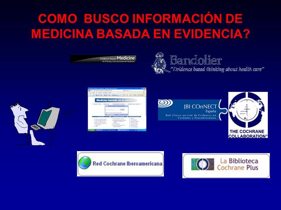 COMO BUSCO INFORMACIÓN DE MEDICINA BASADA EN EVIDENCIA?