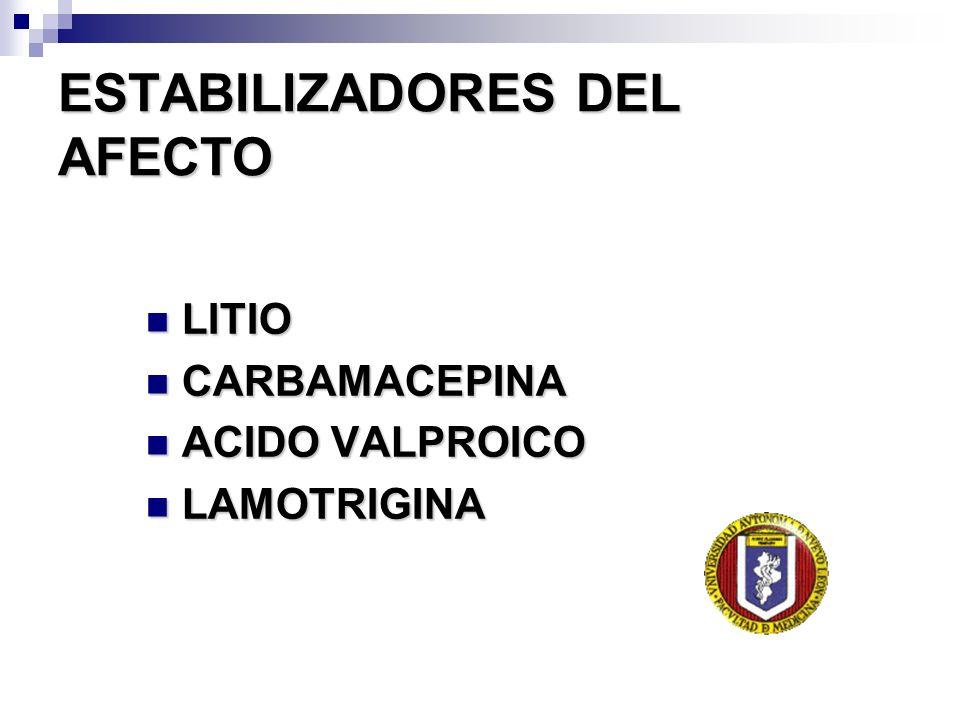 ESTABILIZADORES DEL AFECTO LITIO LITIO CARBAMACEPINA CARBAMACEPINA ACIDO VALPROICO ACIDO VALPROICO LAMOTRIGINA LAMOTRIGINA