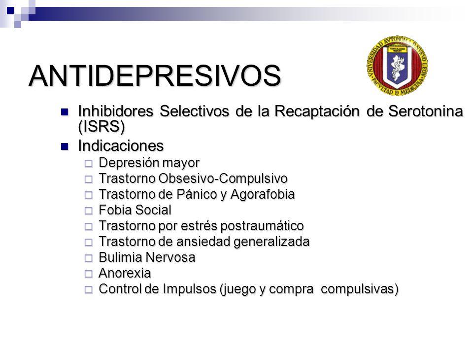 ANTIDEPRESIVOS Inhibidores Selectivos de la Recaptación de Serotonina (ISRS) Inhibidores Selectivos de la Recaptación de Serotonina (ISRS) Indicacione