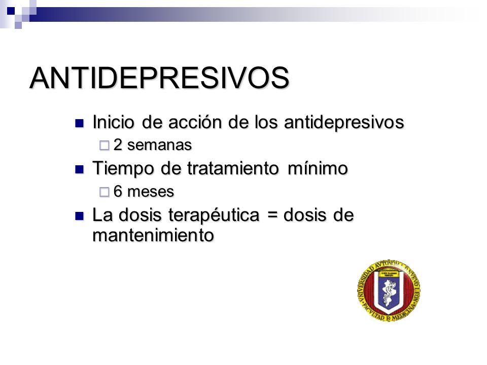 ANTIDEPRESIVOS Inicio de acción de los antidepresivos Inicio de acción de los antidepresivos 2 semanas 2 semanas Tiempo de tratamiento mínimo Tiempo d