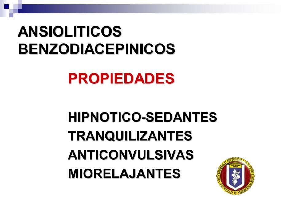 ANSIOLITICOS BENZODIACEPINICOS PROPIEDADESHIPNOTICO-SEDANTESTRANQUILIZANTESANTICONVULSIVASMIORELAJANTES