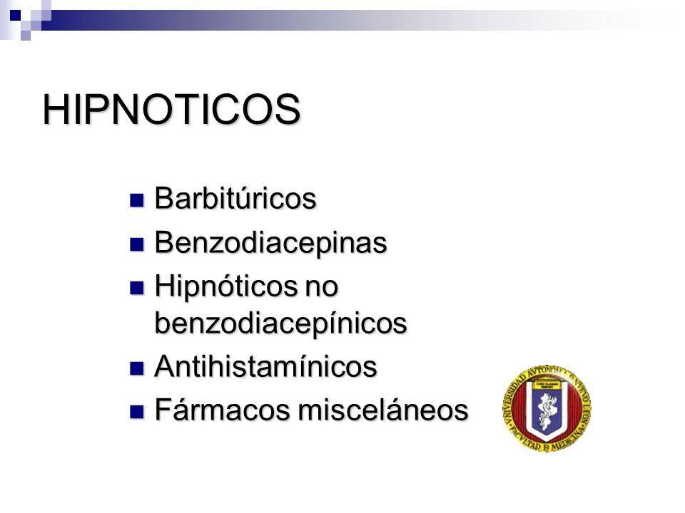 HIPNOTICOS Barbitúricos Barbitúricos Benzodiacepinas Benzodiacepinas Hipnóticos no benzodiacepínicos Hipnóticos no benzodiacepínicos Antihistamínicos