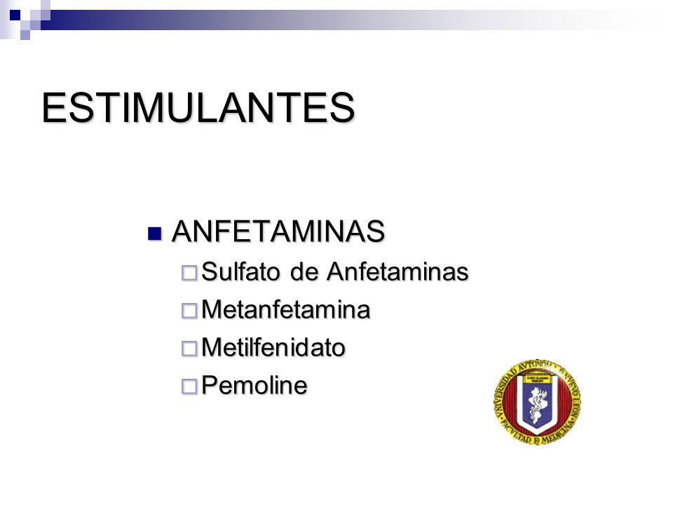 ESTIMULANTES ANFETAMINAS ANFETAMINAS Sulfato de Anfetaminas Sulfato de Anfetaminas Metanfetamina Metanfetamina Metilfenidato Metilfenidato Pemoline Pe