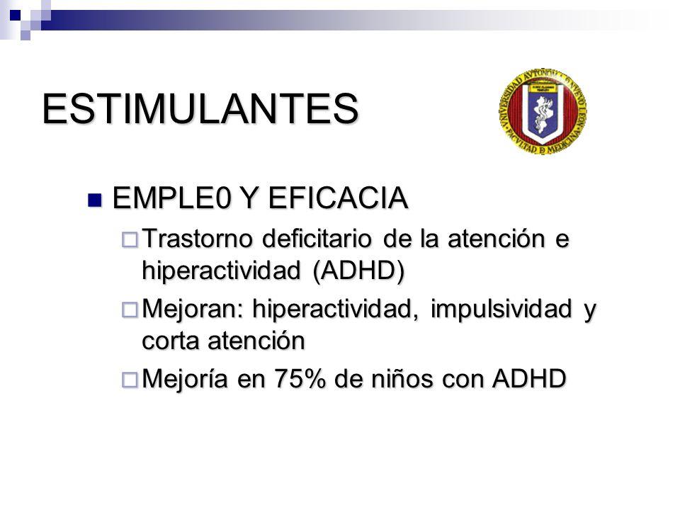 ESTIMULANTES EMPLE0 Y EFICACIA EMPLE0 Y EFICACIA Trastorno deficitario de la atención e hiperactividad (ADHD) Trastorno deficitario de la atención e h