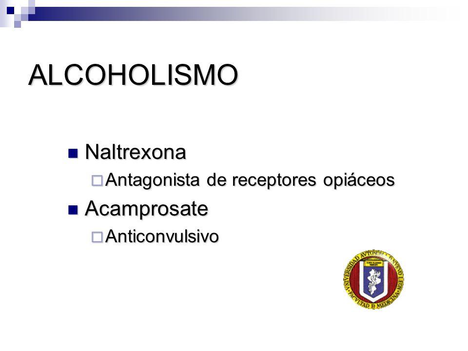 ALCOHOLISMO Naltrexona Naltrexona Antagonista de receptores opiáceos Antagonista de receptores opiáceos Acamprosate Acamprosate Anticonvulsivo Anticon