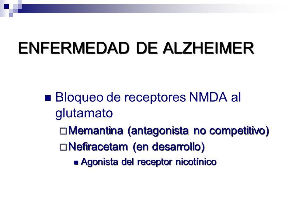 ENFERMEDAD DE ALZHEIMER Bloqueo de receptores NMDA al glutamato Memantina (antagonista no competitivo) Memantina (antagonista no competitivo) Nefirace