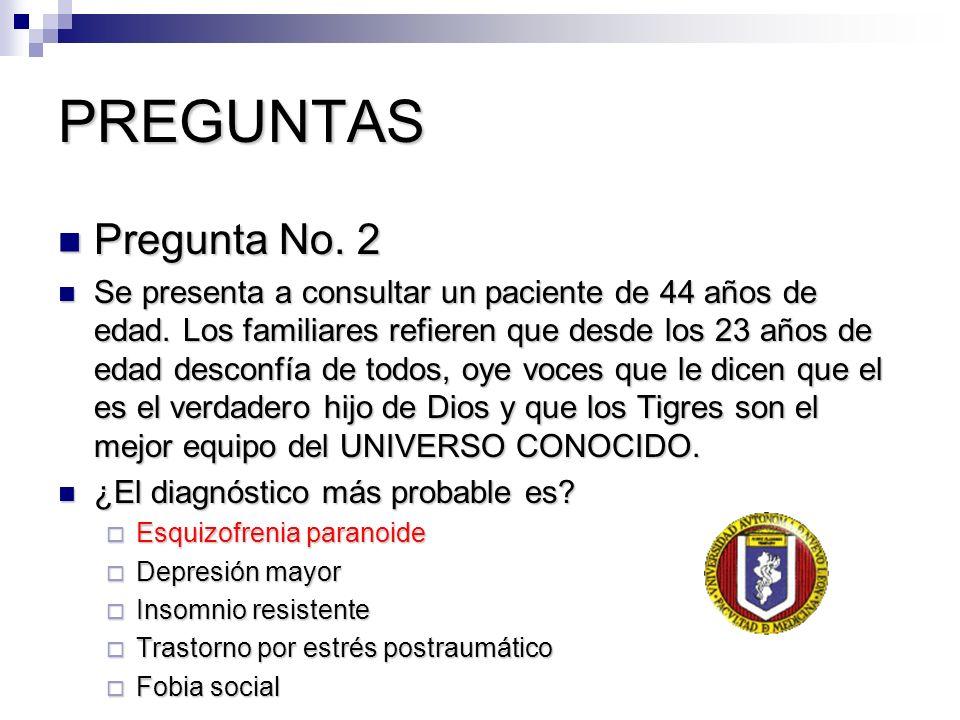 PREGUNTAS Pregunta No. 2 Pregunta No. 2 Se presenta a consultar un paciente de 44 años de edad. Los familiares refieren que desde los 23 años de edad