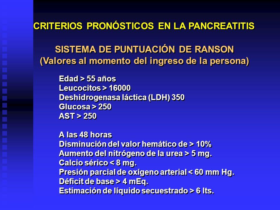 CRITERIOS PRONÓSTICOS EN LA PANCREATITIS SISTEMA DE PUNTUACIÓN DE RANSON (Valores al momento del ingreso de la persona) SISTEMA DE PUNTUACIÓN DE RANSO