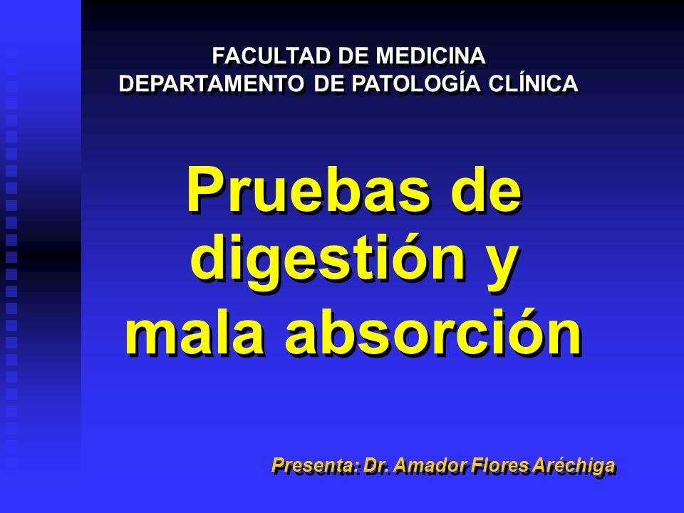 Pruebas de digestión y mala absorción Pruebas de digestión y mala absorción FACULTAD DE MEDICINA DEPARTAMENTO DE PATOLOGÍA CLÍNICA FACULTAD DE MEDICIN
