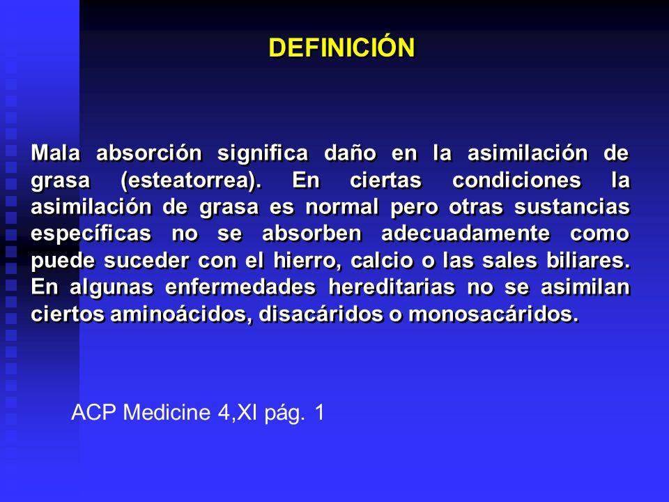DEFINICIÓN Mala absorción significa daño en la asimilación de grasa (esteatorrea). En ciertas condiciones la asimilación de grasa es normal pero otras