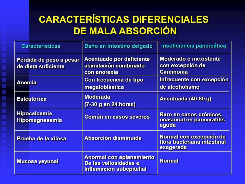 CARACTERÍSTICAS DIFERENCIALES DE MALA ABSORCIÓN CARACTERÍSTICAS DIFERENCIALES DE MALA ABSORCIÓN Características Pérdida de peso a pesar de dieta sufic