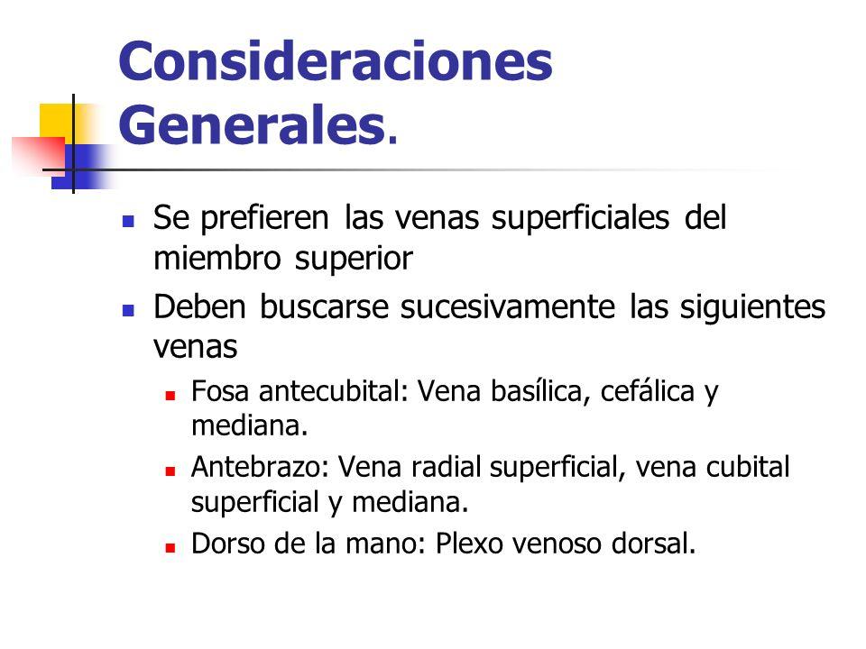 Consideraciones Generales. Se prefieren las venas superficiales del miembro superior Deben buscarse sucesivamente las siguientes venas Fosa antecubita