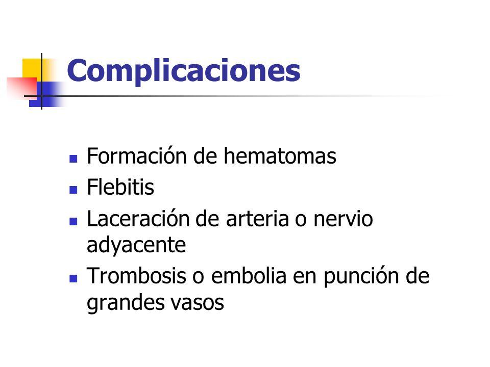 Complicaciones Formación de hematomas Flebitis Laceración de arteria o nervio adyacente Trombosis o embolia en punción de grandes vasos