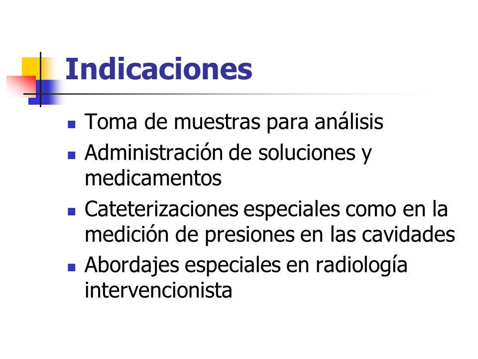 Indicaciones Toma de muestras para análisis Administración de soluciones y medicamentos Cateterizaciones especiales como en la medición de presiones e