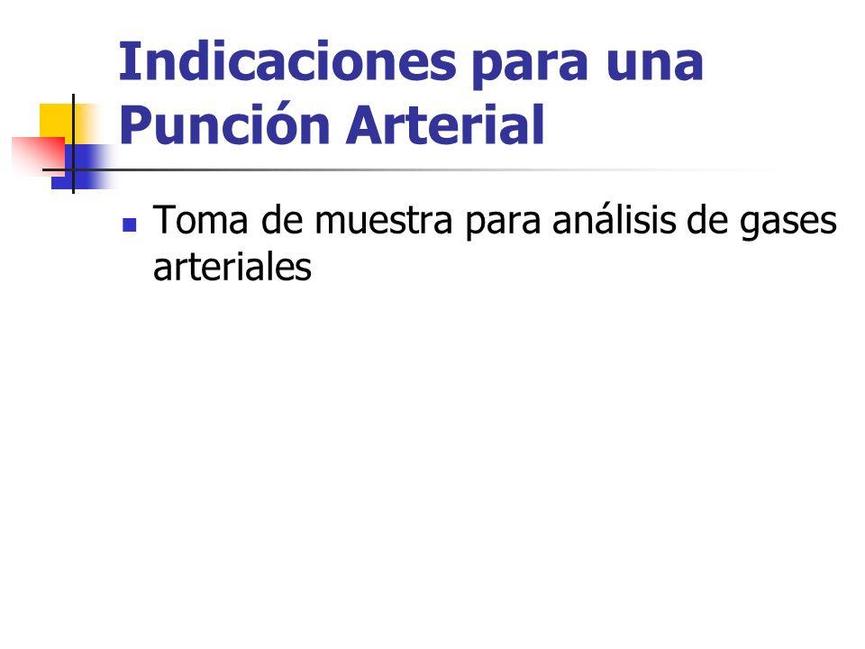 Indicaciones para una Punción Arterial Toma de muestra para análisis de gases arteriales