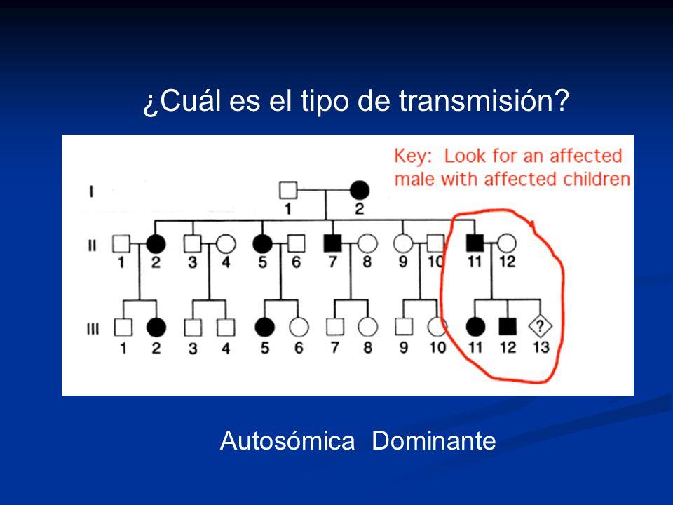¿Cuál es el tipo de transmisión? Autosómica Dominante