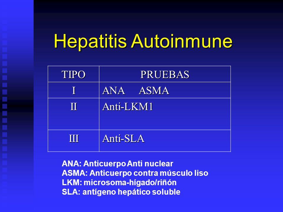 Hepatitis Autoinmune TIPOPRUEBAS I ANA ASMA IIAnti-LKM1 IIIAnti-SLA ANA: Anticuerpo Anti nuclear ASMA: Anticuerpo contra músculo liso LKM: microsoma-h