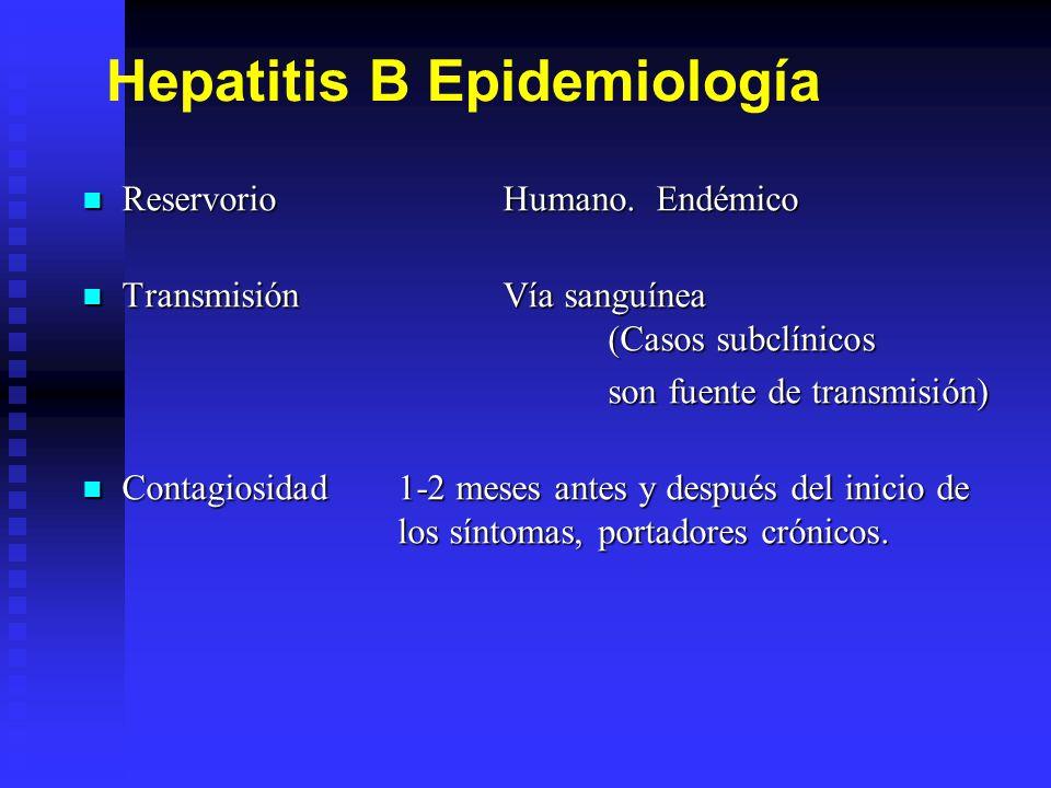 Características clínicas de la Hepatitis B Período de incubación de 6 semanas a 6 meses (promedio de 120 días)Período de incubación de 6 semanas a 6 meses (promedio de 120 días) Pródromo no específico con fiebre, malestar general, cefalea y mialgias.Pródromo no específico con fiebre, malestar general, cefalea y mialgias.
