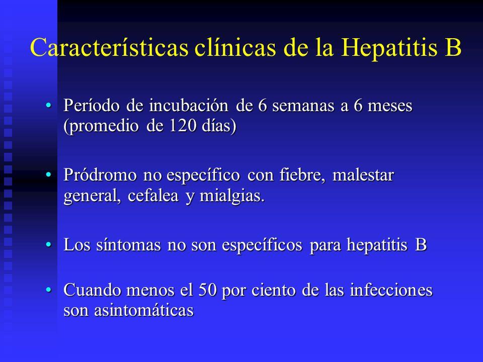 1 2 3 4 5 6 7 8 Concentraciones relativas de los reactivos Concentraciones relativas de los reactivos Pruebas importantes de diagnóstico Pruebas importantes de diagnóstico Nivel de detección Nivel de detección Meses transcurridos después de la exposición Meses transcurridos después de la exposición SGPT (ALT) Síntomas SGPT (ALT) Síntomas HBsAg (anti-HBc) HBsAg (anti-HBc) Anti- HBc Anti- HBc Anti-HBs (anti-HBc) Anti-HBs (anti-HBc) HBsAg HBeAg Anti- HBs Anti-HBe Anti-HBc Período de incubación Período de incubación Pródromo enfermedad aguda Pródromo enfermedad aguda Convalecencia Inmediata tardía Convalecencia Inmediata tardía Fenómenos clínicos y serológicos en un paciente con hepatitis B