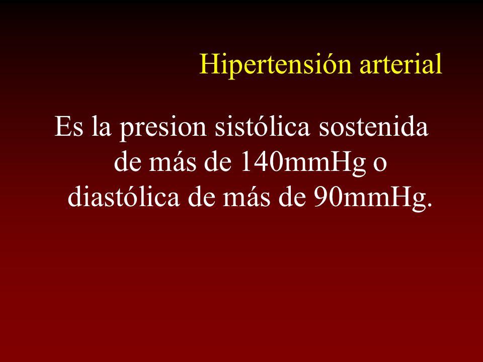 Hipertensión arterial Es la presion sistólica sostenida de más de 140mmHg o diastólica de más de 90mmHg.