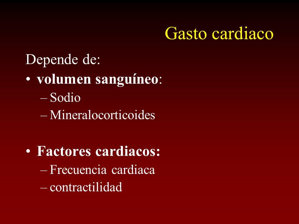 Gasto cardiaco Depende de: volumen sanguíneo: –Sodio –Mineralocorticoides Factores cardiacos: –Frecuencia cardiaca –contractilidad