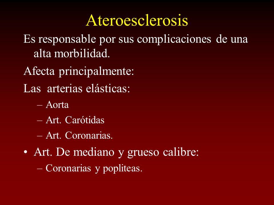 Ateroesclerosis Es responsable por sus complicaciones de una alta morbilidad. Afecta principalmente: Las arterias elásticas: –Aorta –Art. Carótidas –A