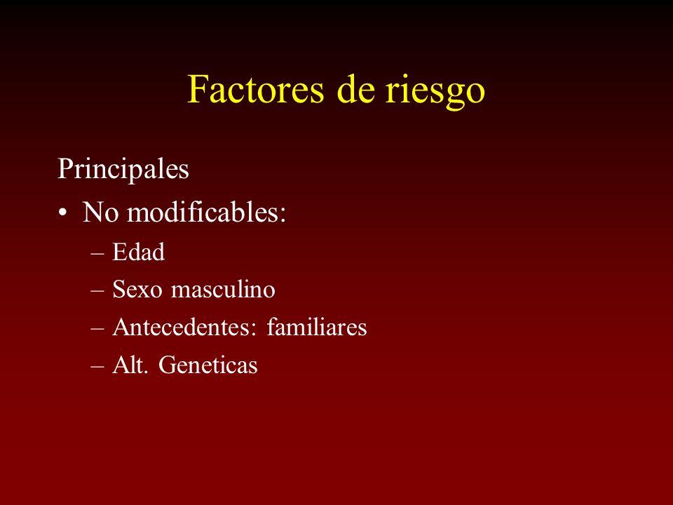 Factores de riesgo Principales No modificables: –Edad –Sexo masculino –Antecedentes: familiares –Alt. Geneticas