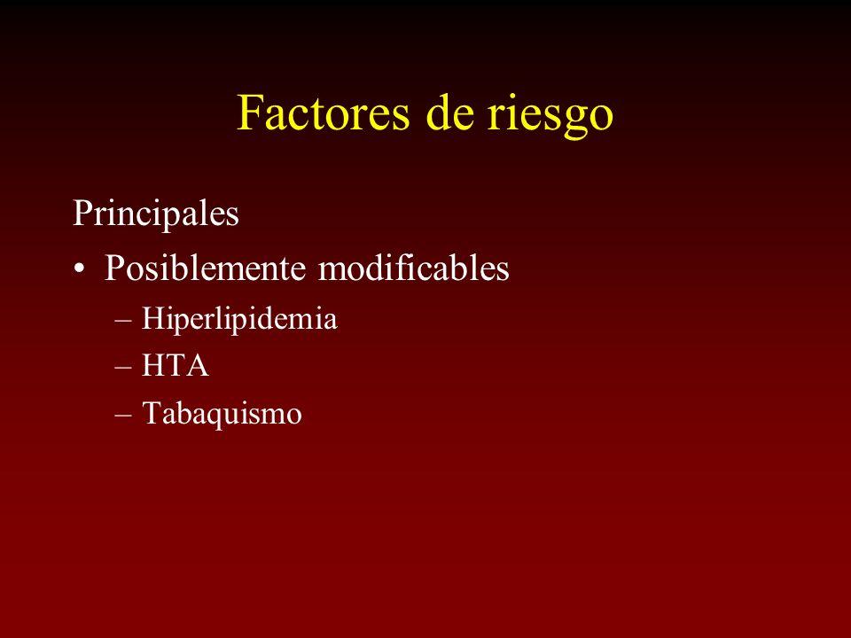Factores de riesgo Principales Posiblemente modificables –Hiperlipidemia –HTA –Tabaquismo