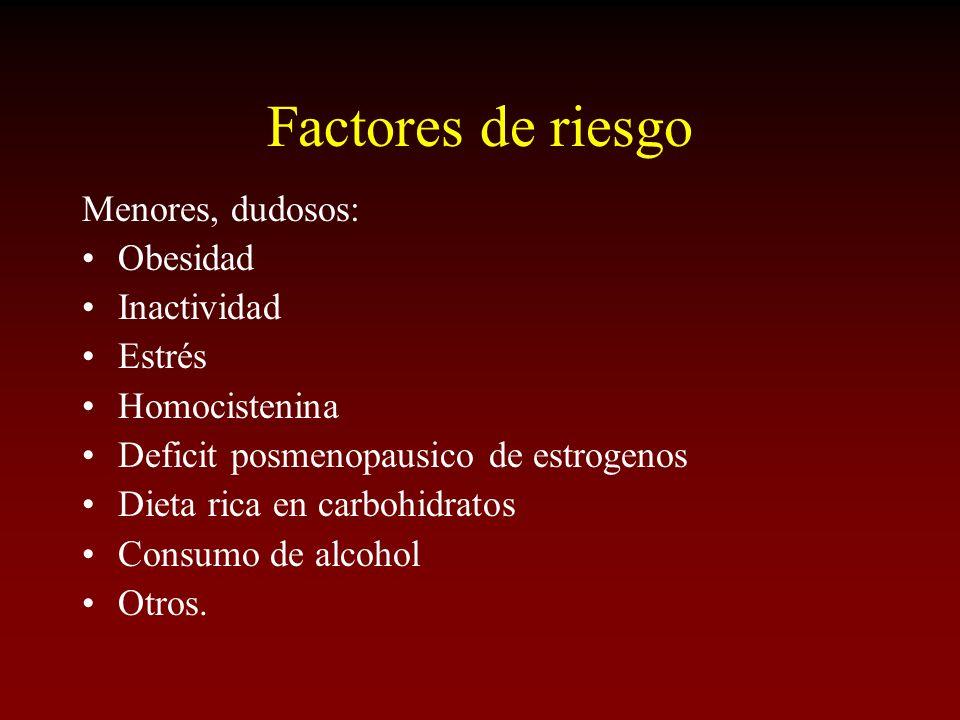 Factores de riesgo Menores, dudosos: Obesidad Inactividad Estrés Homocistenina Deficit posmenopausico de estrogenos Dieta rica en carbohidratos Consum
