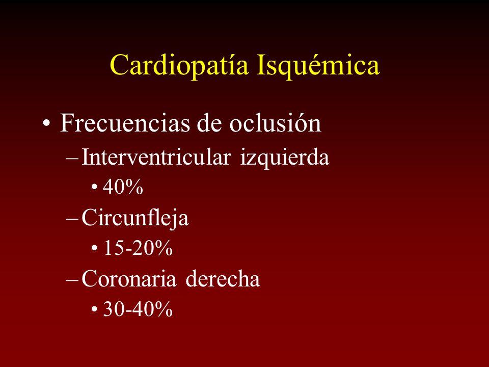 Cardiopatía Isquémica Frecuencias de oclusión –Interventricular izquierda 40% –Circunfleja 15-20% –Coronaria derecha 30-40%