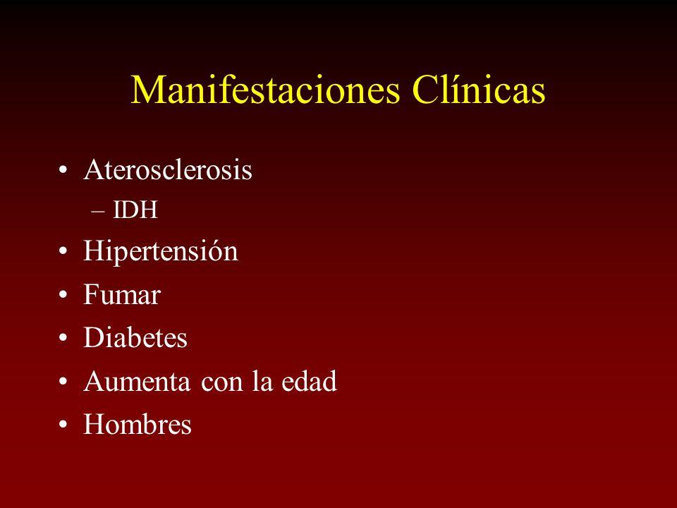Manifestaciones Clínicas Aterosclerosis –IDH Hipertensión Fumar Diabetes Aumenta con la edad Hombres