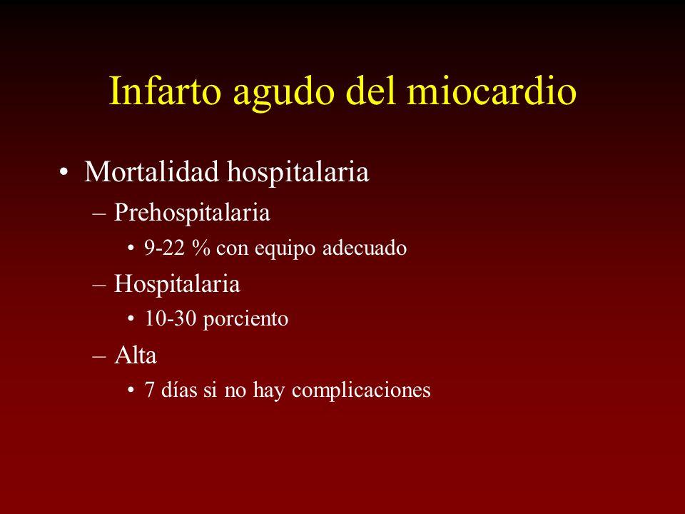 Infarto agudo del miocardio Mortalidad hospitalaria –Prehospitalaria 9-22 % con equipo adecuado –Hospitalaria 10-30 porciento –Alta 7 días si no hay c