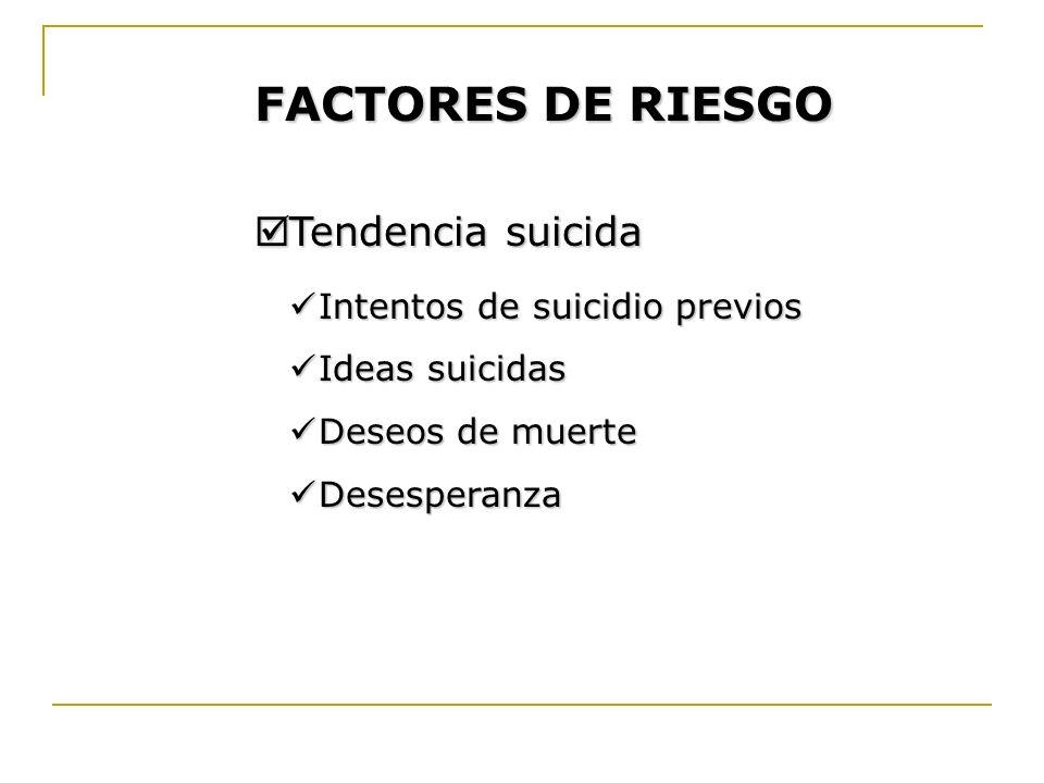 FACTORES DE RIESGO Tendencia suicida Tendencia suicida Intentos de suicidio previos Intentos de suicidio previos Ideas suicidas Ideas suicidas Deseos
